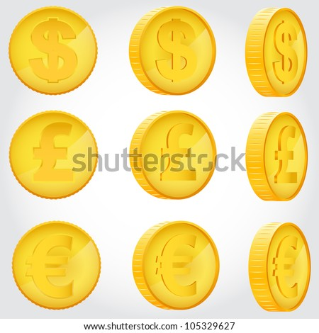 vector coin rotation dollar euro pound sterling gold - stock vector