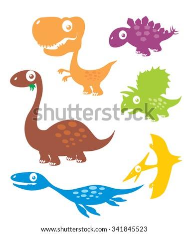 Vector Collection Cartoon Dinosaurs - stock vector