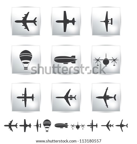 Vector collection different airplane and gray silhouettes. Set - stock vector