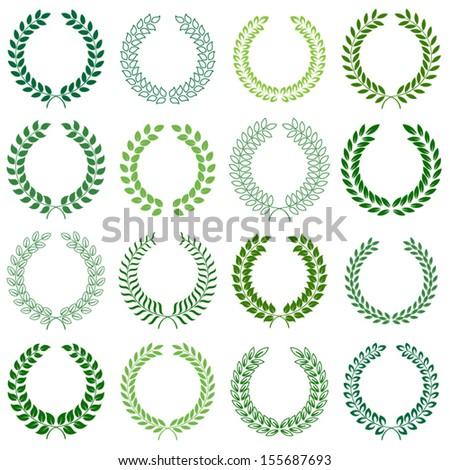 vector collection: laurel wreaths - stock vector