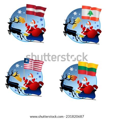 vector collection Merry Christmas - stock vector