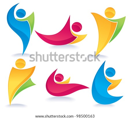 vector collection of abstract, colorful, active people doing fitness - stock vector