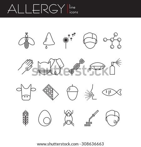 Vector collection of allergy. Set of linear style. Abstract illustration of allergen, symptoms, causes of the disease. - stock vector