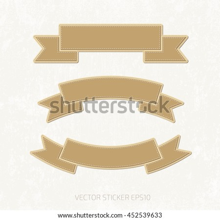 Vector collection of applique style ribbon banners - stock vector