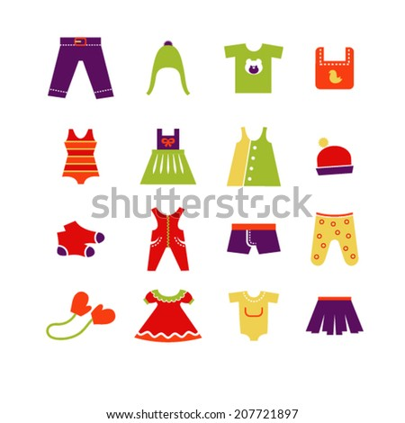 Vector collection of baby and children clothes collection - stock vector