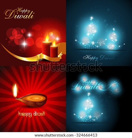vector collection of beautiful background of diwali with diya and candles - stock vector