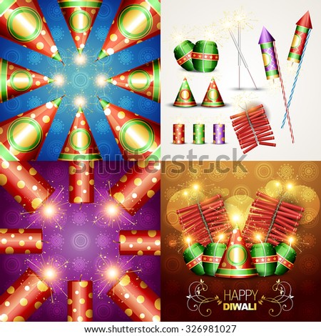 vector collection of beautiful diwali background and diwali crackers illustration - stock vector