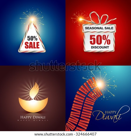 vector collection of beautiful diwali background with crackers and diya illustration - stock vector