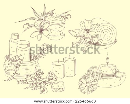 Vector collection of beauty and spa line drawings - stock vector