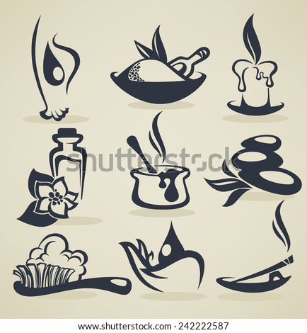 vector collection of beauty and spa sign, icons, emblems and symbols - stock vector