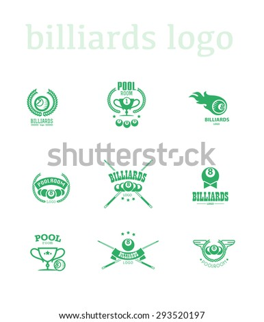 Vector collection of billiard logos. Poolroom icons set with cues, balls, ribbons, laurel wreath, stars. Sport label design. - stock vector