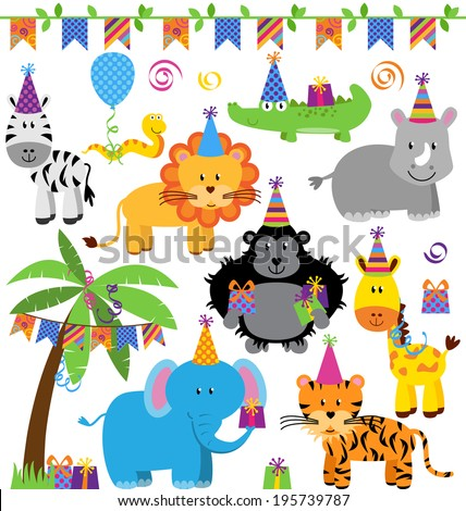 Vector Collection of Birthday Party Themed Jungle, Zoo or Safari Animals - stock vector
