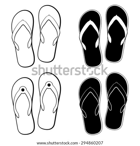 vector collection of black and white flip flops icons - stock vector