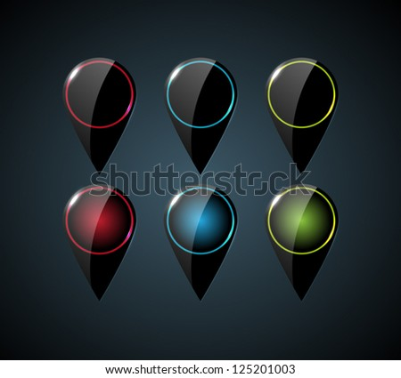 Vector collection of black glossy map pins with glowing elements - stock vector