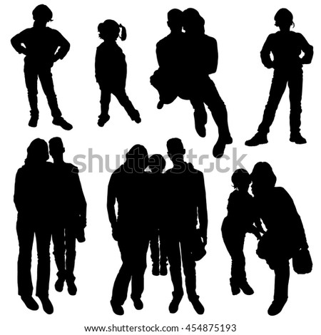Vector collection of black silhouettes of people on a white background. Children, couples, family. Husband and wife with a daughter. - stock vector