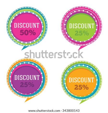 vector collection of bright discount banners and stickers - stock vector