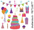 Vector Collection of Bright Party Elements - stock vector
