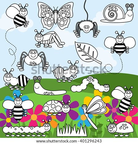 Vector Collection of Bug and Insect Line Art - stock vector