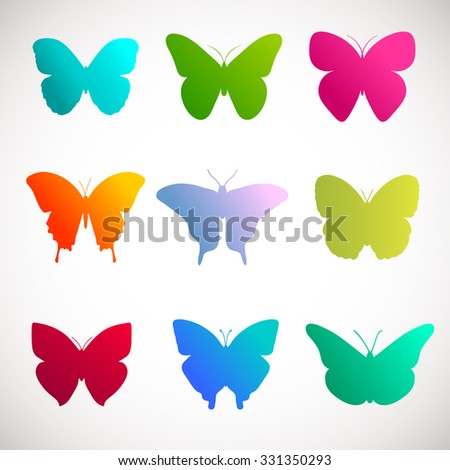 Vector collection of butterflies. Bright colors  butterflies on white background. Pink, green, yellow and violet colors butterflies illustration - stock vector