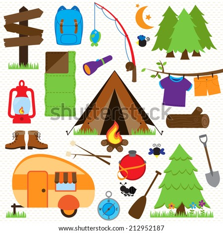 Vector Collection of Camping and Outdoors Themed Images - stock vector