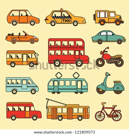 Vector collection of cars and buses. Icon with transport. - stock vector