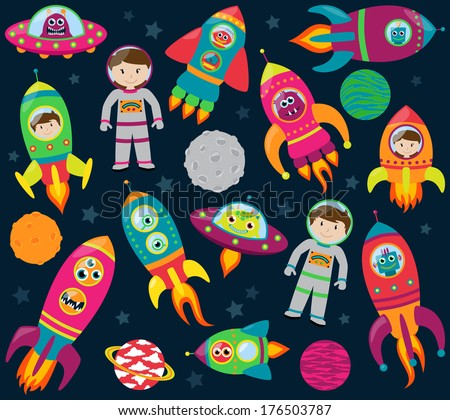 Vector Collection of Cartoon Rocketships, Aliens, Robots, Astronauts and Planets - stock vector