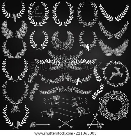 Vector Collection of Chalkboard Christmas Holiday Themed Laurels and Wreaths - stock vector