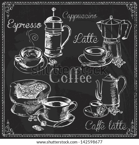 Vector Collection of Chalkboard Style Coffee doodles Chalk lettering - stock vector