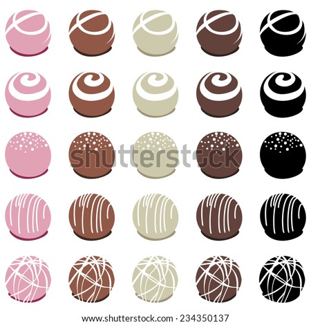 vector collection of chocolate candies for dessert - stock vector