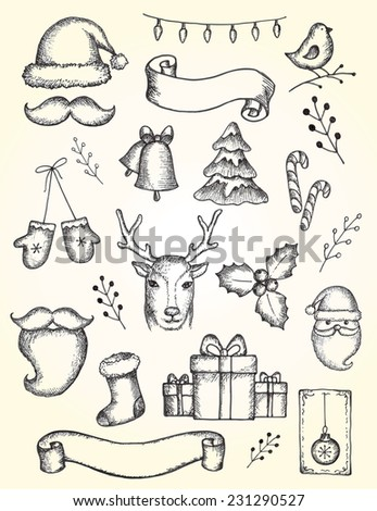 Vector collection of Christmas and New year's elements and hand drawn engraved illustrations. Vector holiday set on aged background. - stock vector