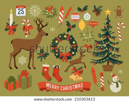 Vector collection of christmas items, elements and decorations featuring deer, christmas tree, gift boxes, candle, mistletoe, wreath, snow man, gingerbread man, candies, pine cones, calendar and more - stock vector