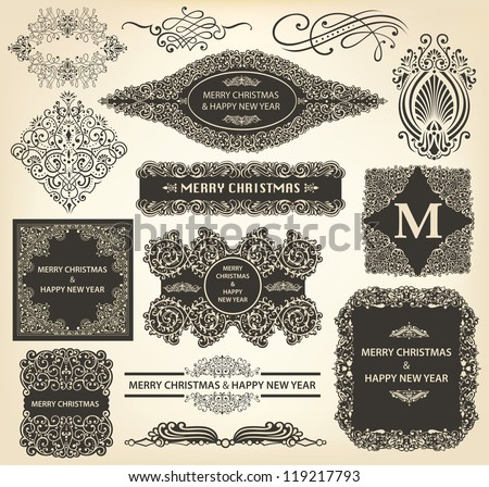 Vector collection of Christmas Ornaments and Decorative Elements - stock vector