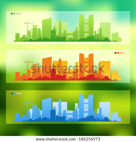 Vector collection of city skylines banners divided on layers for create parallax effect on your site. Unfocused background, EPS 10 - stock vector