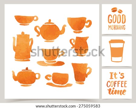 """Vector collection of coffee cards template. Watercolor objects and patterns, calligraphic phrase for your design. """"Good morning"""" and """"It's coffee time"""" posters or postcards. - stock vector"""