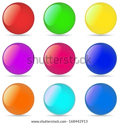 Vector collection of color glossy spheres isolated on white - stock vector