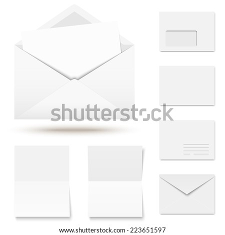 vector - collection of colored envelopes with writing paper - stock vector