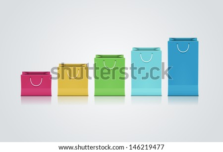 Vector collection of colorful paper bags. - stock vector
