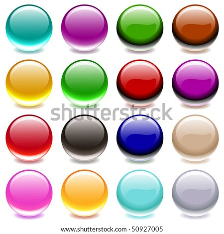 Vector Collection of Colorful Translucent Glossy Balls - stock vector
