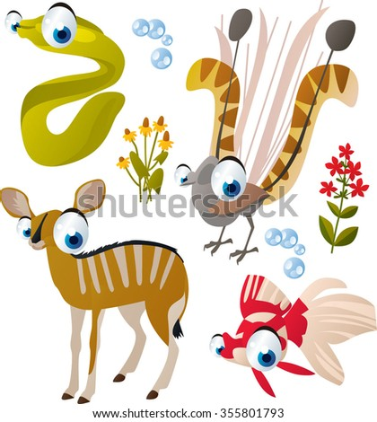vector collection of comic cartoon styled animals for children. Set of Moray, lyre bird, antelope and goldfish - stock vector