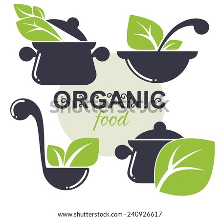 vector collection of cooking equipment and healthy organic food symbols - stock vector
