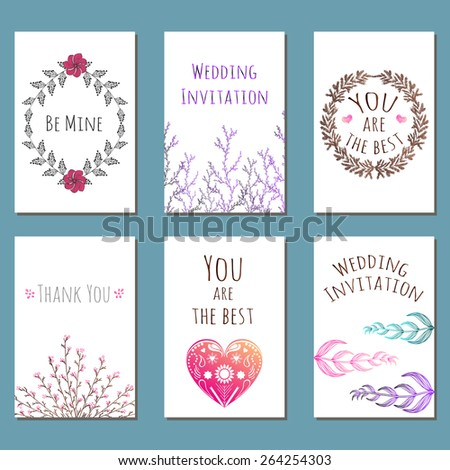 Vector collection of cute hand drawn cards, posters or postcards. Set of watercolor style floral greetings, invitations. Holiday, wedding, marriage, bridal, birthday, save the date or valentine's day. - stock vector