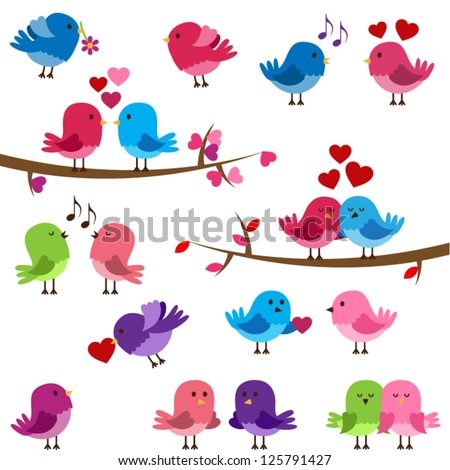 Vector Collection of Cute Love Birds - stock vector