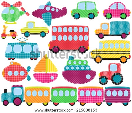 Vector Collection of Cute Patchwork Style Transportation Images - stock vector