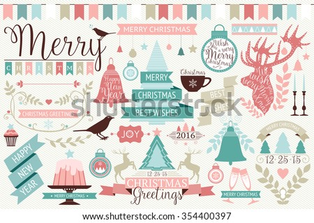 Vector collection of cute retro icons for Christmas and New year's design. Vintage holiday design elements, borders, frames, ribbons collection - stock vector