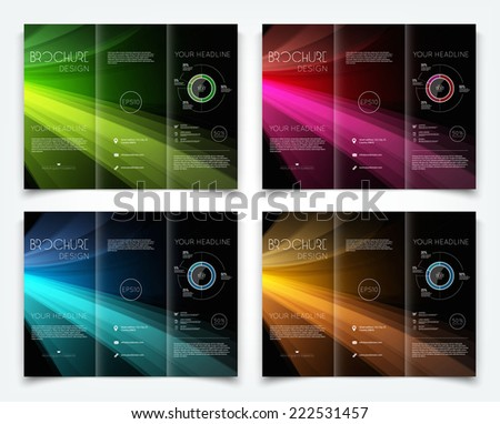 Vector collection of dark tri-fold brochure design templates with colorful smooth light beams background  - stock vector