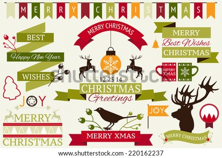 Vector collection of decorative Christmas and New year's elements and illustrations for holiday greeting card or invitation design. - stock vector