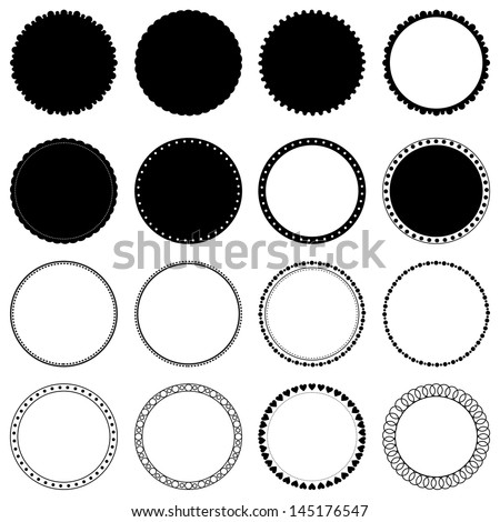 Vector collection of decorative circle frames. Design elements isolated on white - stock vector