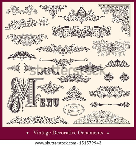 Vector collection of detailed vintage borders, ornaments and elements of decoration - stock vector