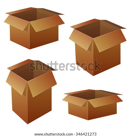 VECTOR. Collection of different box packaging. Brown boxes - stock vector