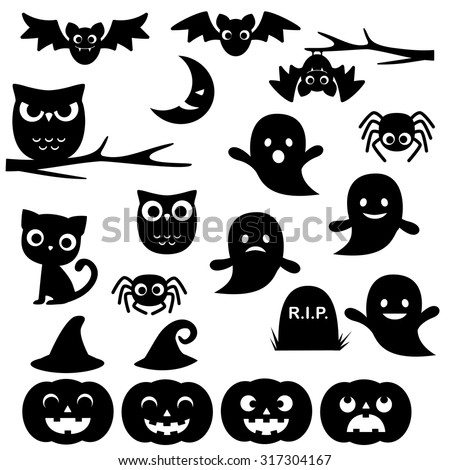 Vector collection of different cute black Halloween silhouettes - stock vector
